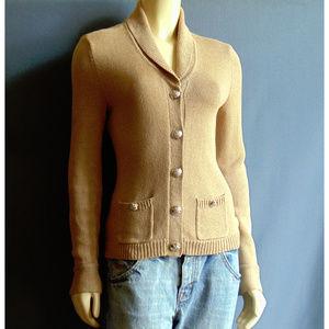 Ralph Lauren Tan Mercerized Cotton Fitted Blazer S